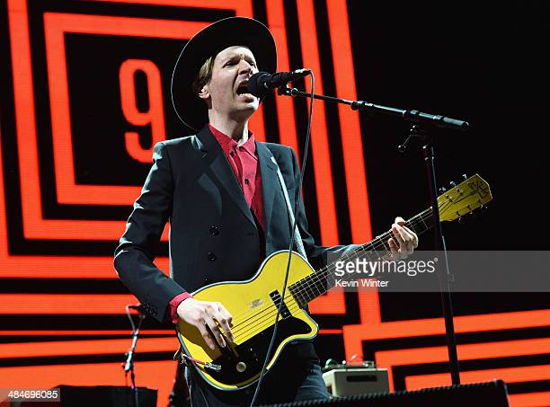 Musician Beck performs onstage during day 3 of the 2014 Coachella Valley Music Arts Festival at the Empire Polo Club on April 13 2014 in Indio...