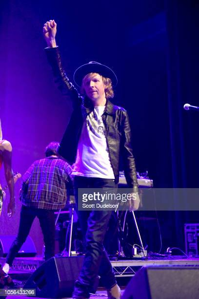 Musician Beck performs onstage during The Last Weekend Kickoff LA Presented by Swing Left at The Palace Theatre on November 1 2018 in Los Angeles...
