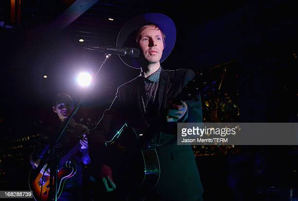Musician Beck performs onstage during the Samsung Galaxy S 4 Launch at ChiLin Restaurant on May 7 2013 in Los Angeles California