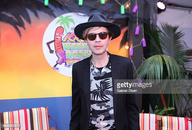 Musician Beck poses backstage during the 22nd Annual KROQ Weenie Roast at Verizon Wireless Music Center on May 31 2014 in Irvine California