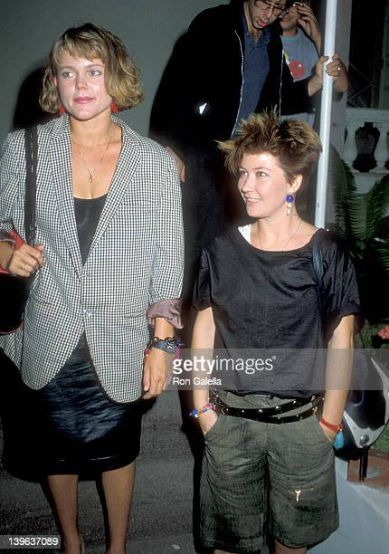 Musician Belinda Carlisle and musician Kathy Valentine of The GoGo's on October 11 1983 at Spago in West Hollywood California