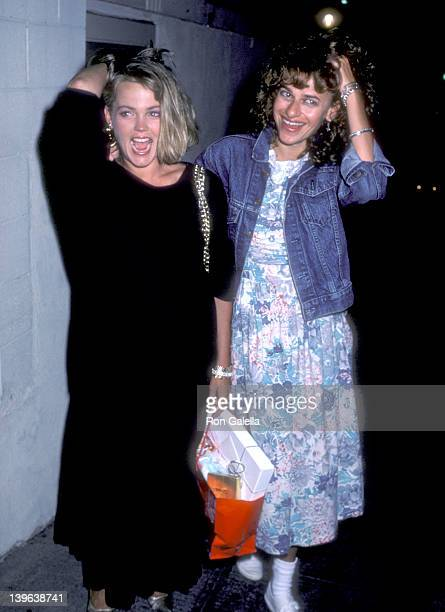Musician Belinda Carlisle of The GoGo's and actress Sandra Bernhard on August 17 1986 dine at Spago in West Hollywood California
