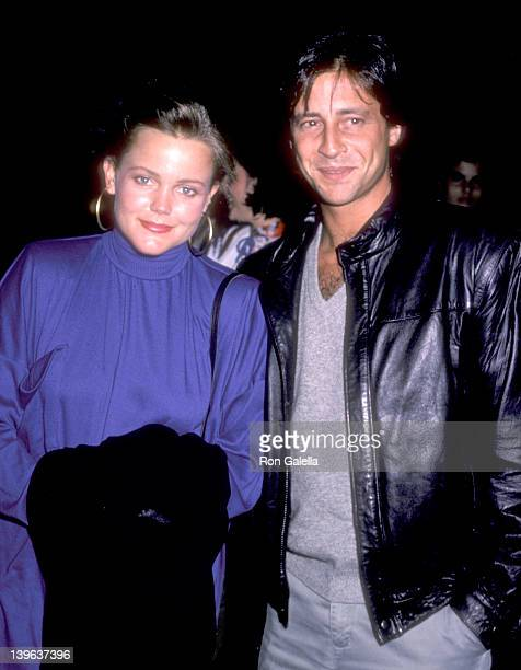 Musician Belinda Carlisle of The GoGo's and date Morgan Mason on September 27 1985 dine at Spago in West Hollywood California