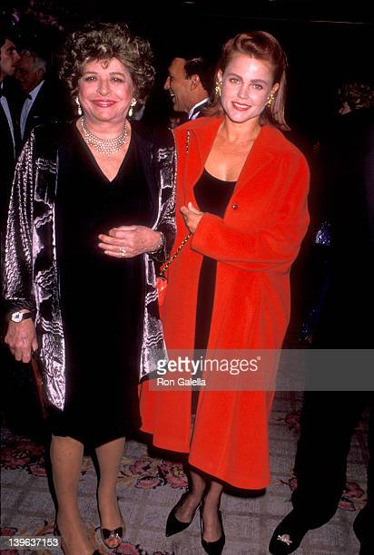 Musician Belinda Carlisle of The GoGo's and her motherinlaw Pamela Mason attend the 35th Annual Thalians Ball on October 13 1990 at Century Plaza...