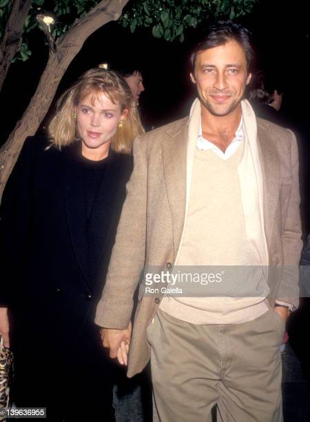 Musician Belinda Carlisle of The GoGo's and husband Morgan Mason on March 20 1987 dine at Spago in West Hollywood California