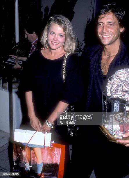 Musician Belinda Carlisle of The GoGo's and husband Morgan Mason on August 17 1986 dine at Spago in West Hollywood California