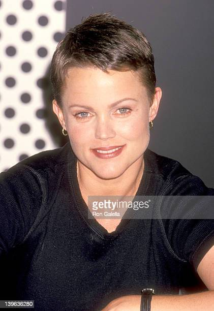 Musician Belinda Carlisle of The GoGo's autographs copies of their new album Return to the Valley of The GoGo's on October 21 1994 at Tower Records...
