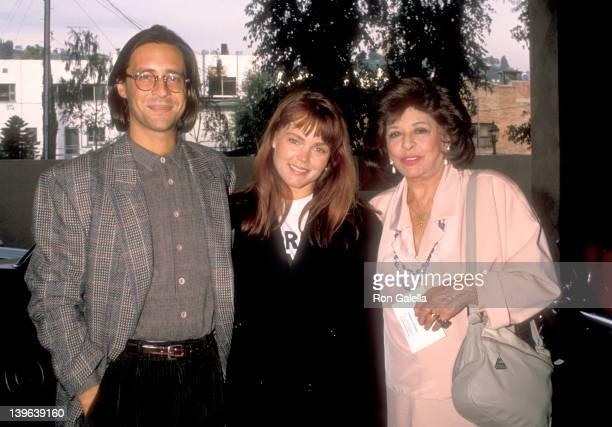 Musician Belinda Carlisle of The GoGo's husband Morgan Mason and his mother Pamela Mason attend the Third Annual Genesis Awards on November 19 1988...
