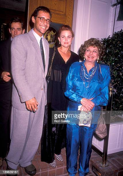Musician Belinda Carlisle of The GoGo's husband Morgan Mason and his mother Pamela Mason on October 5 1990 dine at Chasen's Restaurant in Beverly...