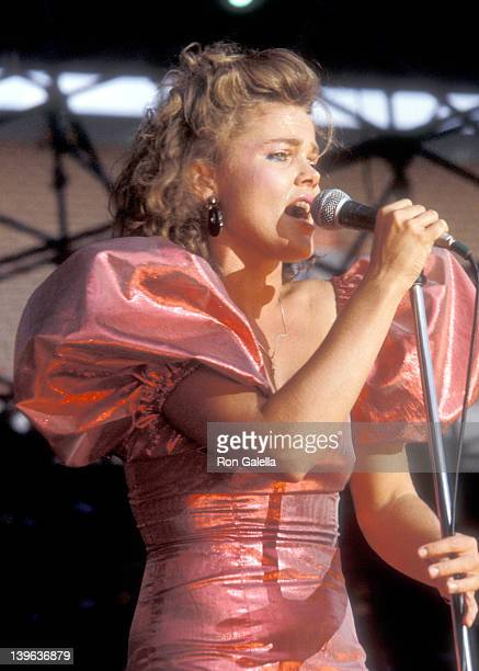 Musician Belinda Carlisle of The GoGo's performs in concert on September 9 1983 at Anaheim Stadium in Anaheim California