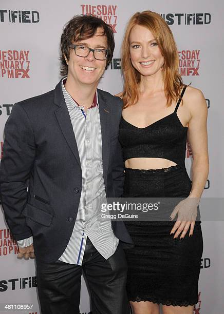 Musician Ben Folds and actress Alicia Witt arrive at the Los Angeles premiere of FX Justified at DGA Theater on January 6 2014 in Los Angeles...