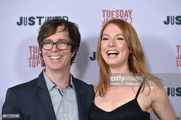 Musician Ben Folds and actress Alicia Witt arrive to the Season 5 premiere of FX's 'Justified' at DGA Theater on January 6 2014 in Los Angeles...
