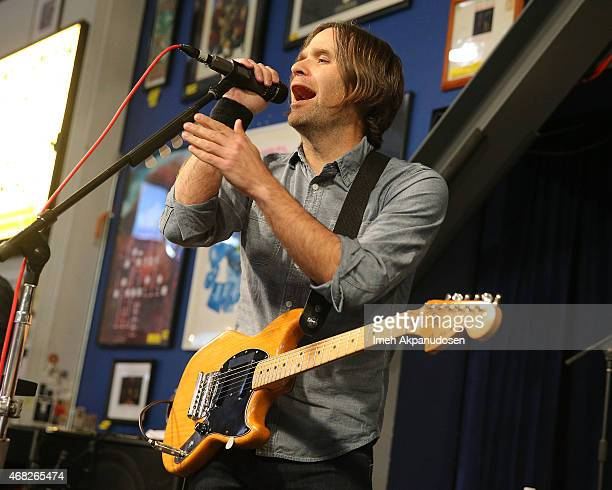Musician Ben Gibbard of Death Cab for Cutie performs onstage for the release of their new album 'Kintsugi' at Amoeba Music on March 31 2015 in...