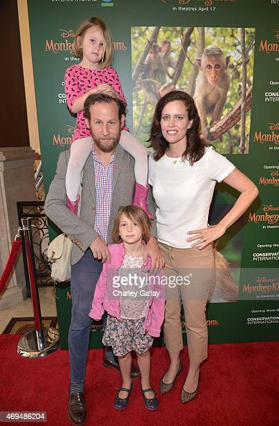 Musician Ben Lee actress Ione Skye and daughter Goldie Priya Lee attend the world premiere Of Disney's Monkey Kingdom at Pacific Theatres at The...