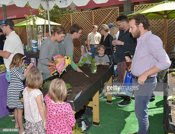 Musician Ben Lee and daughter Goldie Priya Lee attend the world premiere Of Disney's Monkey Kingdom at Pacific Theatres at The Grove on April 12 2015...