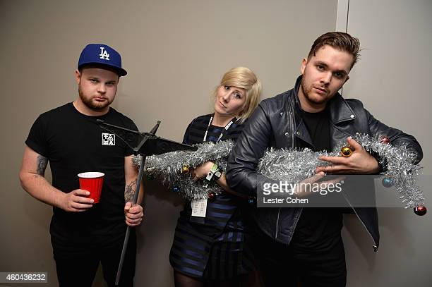 Musician Ben Thatcher KROQ DJ Kat Corbett and musician Mike Kerr attend day one of the 25th annual KROQ Almost Acoustic Christmas at The Forum on...