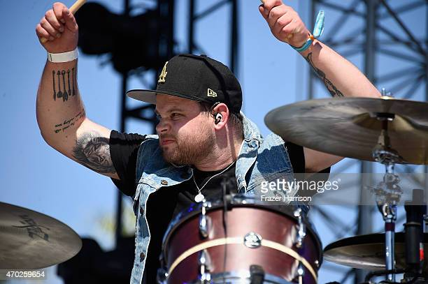 Musician Ben Thatcher of Royal Blood performs onstage during day 2 of the 2015 Coachella Valley Music And Arts Festival at The Empire Polo Club on...