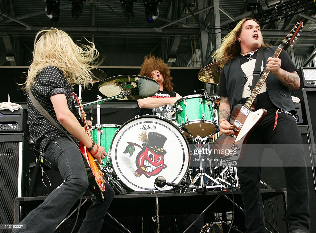 Musician Ben Wells, musician John Fred Young and singer/musician Chris Robertson of Black Stone Cherry perform during the 2009 Rock On The Range festival at Columbus Crew Stadium on May 16, 2009 in Columbus, Ohio.