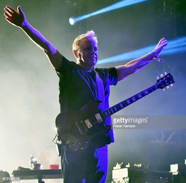 Musician Bernard Sumner of New Order performs at the Mojave Tent during day 3 of the 2017 Coachella Valley Music Arts Festival at the Empire Polo...