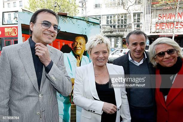 Musician Bertrand Burgalat wife of Henri Catherine Salvador humorist Elie Semoun and Veronique de Villele attend the Henri Salvador's Square...