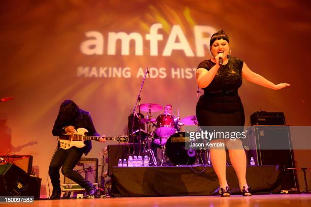 Musician Beth Ditto of band Gossip onstage at amfAR Inspiration Gala during the 2013 Toronto International Film Festival on September 8 2013 in...