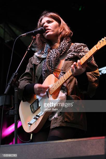 Musician Bethany Cosentino of Best Coast performs onstage at Chipotle presents Cultivate Denver a food music and ideas festival in the Meadow at City...