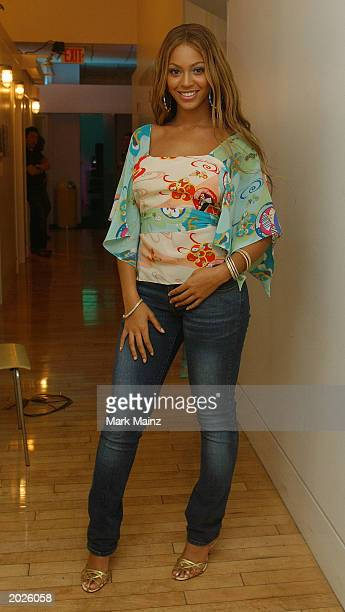 Musician Beyonce Knowles backstage at the MTV Beach House Launch Party May 23 2003 at the MTV Studios in Times Square New York City The MTV Beach...