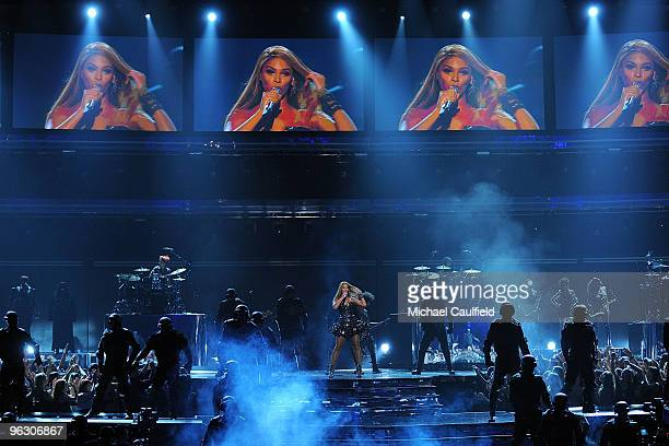 Musician Beyonce performs onstage at the 52nd Annual GRAMMY Awards held at Staples Center on January 31 2010 in Los Angeles California