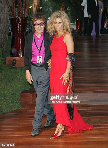 Musician Bill Wyman and wife Suzanne Wyman arrive at the 60th Monaco Red Cross Ball at the Monte-Carlo Sporting Club on August 1, 2008 in Monte...