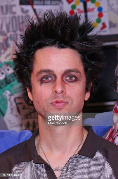 Musician Billie Joe Armstrong celebrates the 300th performance of American Idiot on Broadway at the St James Theatre on January 8 2011 in New York...
