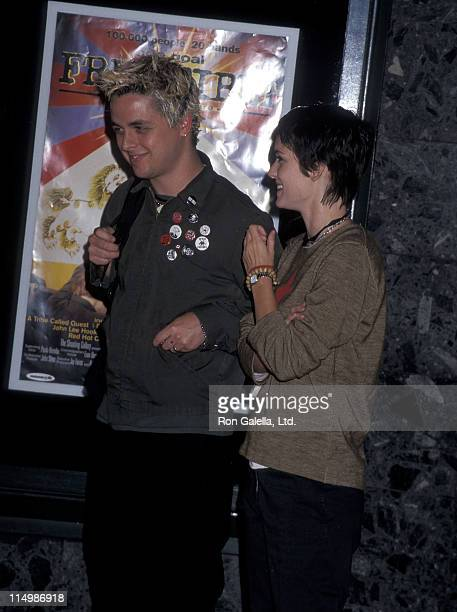 Musician Billie Joe Armstrong of Green Day and actress Winona Ryder attend the Free Tibet Hollywood Premiere on September 9 1998 at the Cineplex...