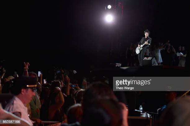 Musician Billie Joe Armstrong of Green Day performs onstage during the 2017 Global Citizen Festival For Freedom For Justice For All in Central Park...