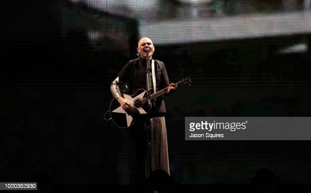 Musician Billy Corgan of Smashing Pumpkins performs at Sprint Center on August 16 2018 in Kansas City Missouri