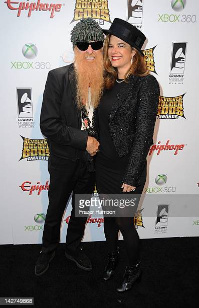 Musician Billy Gibbons and wife Gillian arrives at the 2012 Revolver Golden Gods Award Show at Club Nokia on April 11 2012 in Los Angeles California