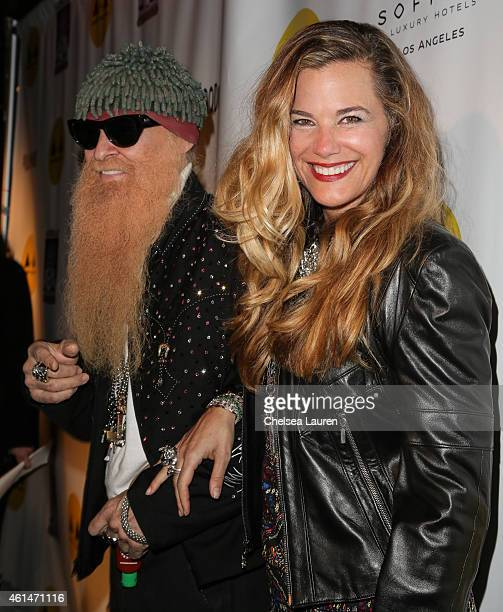 Musician Billy Gibbons and wife Gilligan Stillwater arrive at the Adopt the Arts benefit concert at The Roxy Theatre on January 12 2015 in West...