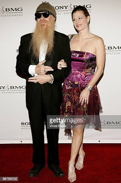 Musician Billy Gibbons of the band of ZZ Top and Gilligan Stillwater arrive at the SONY BMG Grammy Party held at The Hollywood Roosevelt Hotel on...
