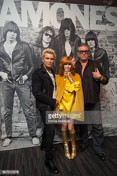 Musician Billy Idol Linda Ramone and musician Steve Jones attend 'Hey Ho Let's Go Celebrating 40 Years Of The Ramones' at The GRAMMY Museum on...