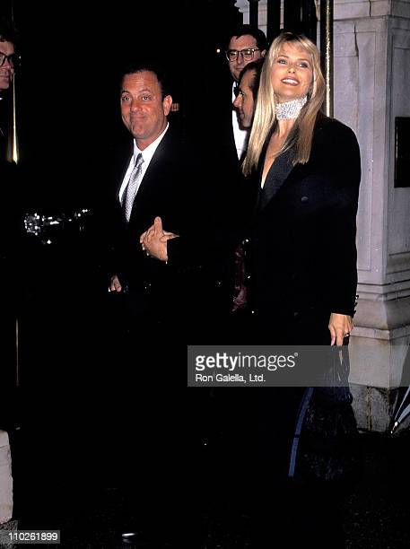 Musician Billy Joel and model Christie Brinkley attend the wedding of Tommy Mottola and Mariah Carey on June 5 1993 at St Thomas Episcopal Church in...