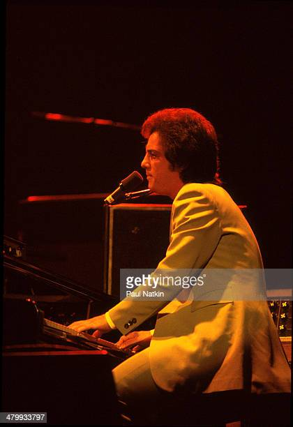 Musician Billy Joel performs onstage at the Riviera Theater Chicago Illinois November 19 1977
