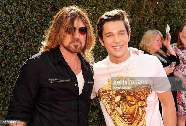 Musician Billy Ray Cyrus and singer Austin Mahone attend the 2014 iHeartRadio Music Awards held at The Shrine Auditorium on May 1 2014 in Los Angeles...