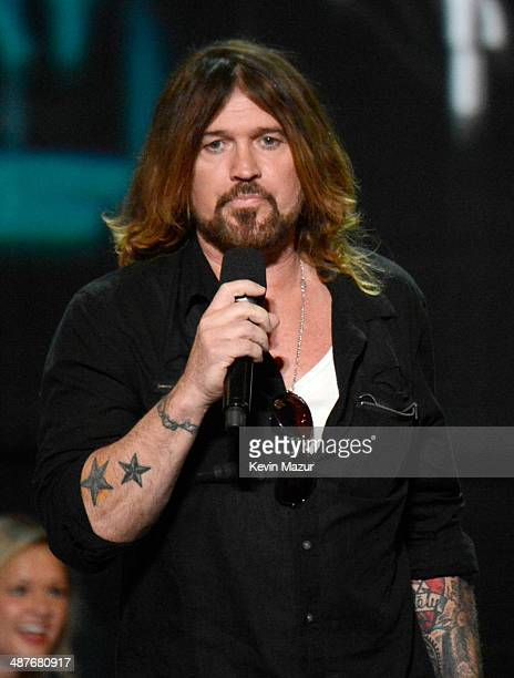 Musician Billy Ray Cyrus speaks onstage during the 2014 iHeartRadio Music Awards held at The Shrine Auditorium on May 1 2014 in Los Angeles...