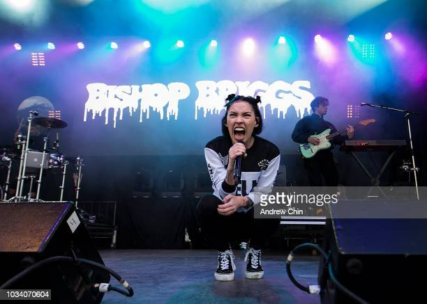 Musician Bishop Briggs performs on stage during day 3 of the 11th Annual Rifflandia Festival at Royal Athletic Park on September 15 2018 in Victoria...