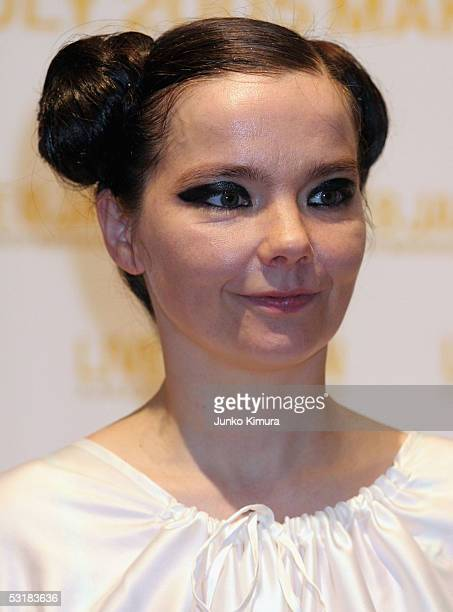 Musician Bjork poses at a press conference during Live 8 Japan at Makuhari Messe on July 2 2005 in Chiba east of Tokyo Japan The free concert is one...