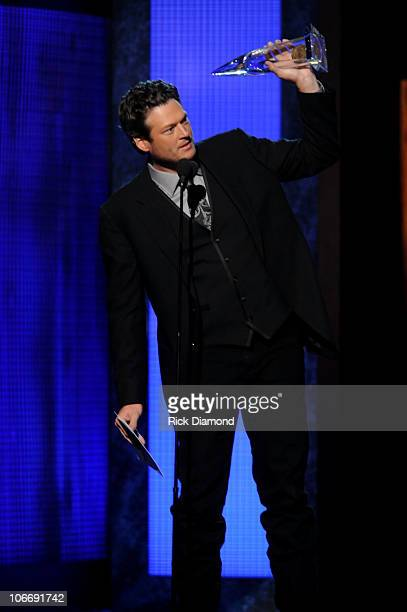 Musician Blake Shelton accepts award for Male Vocalist of the Year at the 44th Annual CMA Awards at the Bridgestone Arena on November 10 2010 in...