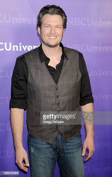 Musician Blake Shelton arrives at the 2012 NBC TCA Winter AllStar Party at The Athenaeum on January 6 2012 in Pasadena California