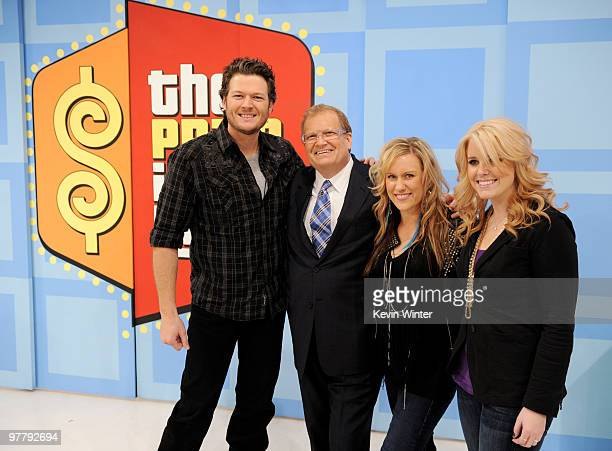 Musician Blake Shelton host Drew Carey and singers Kristy Osmunson and Kelley Shepard of Bomshel appear on The Price is Right at CBS Television City...