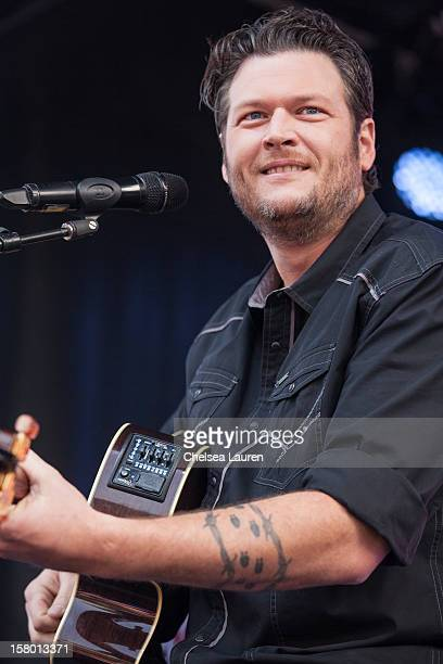 Musician Blake Shelton performs at the JCPenney 12 day holiday giving tour performance at JCPenney on December 8 2012 in Culver City California