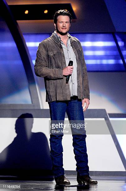 Musician Blake Shelton speaks onstage during ACM Presents Girls' Night Out Superstar Women of Country concert held at the MGM Grand Garden Arena on...