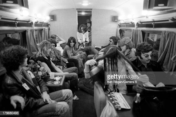 Musician Bob Dylan and Joan Baez are photographed on the tour bus during the Rolling Thunder Revue in October 1975 in Lowell Massachusetts CREDIT...