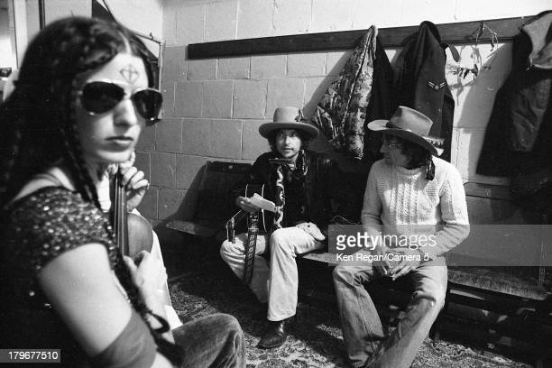 Musician Bob Dylan is photographed backstage during the Rolling Thunder Revue on October 31 1975 in Plymouth Massachusetts CREDIT MUST READ Ken...